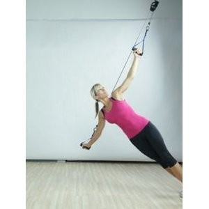 The Human Trainer Rotational Pulley is a bodyweight suspension trainer that provides unlimited range of motion and is designed for all fitness levels.