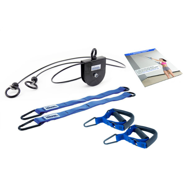 The Human Trainer Rotational Pulley Kit is a bodyweight suspension trainer that provides unlimited range of motion and is designed for all fitness levels.