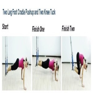 The Human Trainer Push Up Knee Tuck is a full body suspended exercise that targets both the core and upper body using the foot cradle integrated handles.